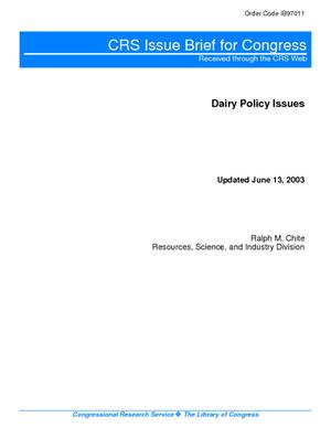 Dairy Policy Issues