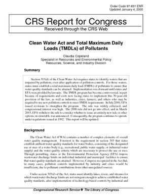 Clean Water Act and Total Maximum Daily Loads (TMDLs) of Pollutants