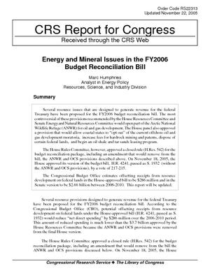 Energy and Mineral Issues in the FY2006 Budget Reconciliation Bill