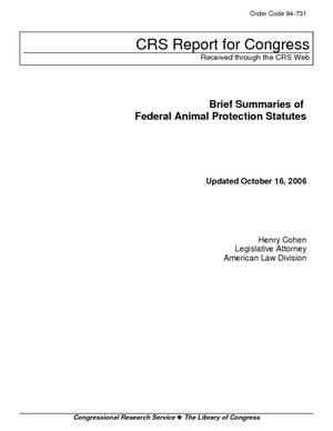 Brief Summaries of Federal Animal Protection Status