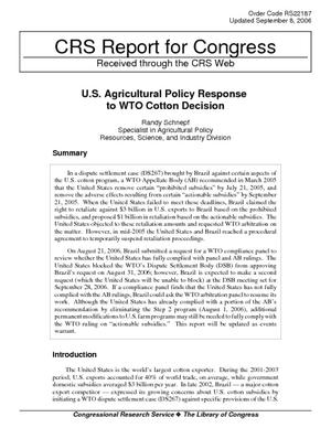 U.S. Agricultural Policy Response to WTO Cotton Decision
