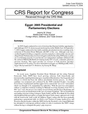 Egypt: 2005 Presidential and Parliamentary Elections