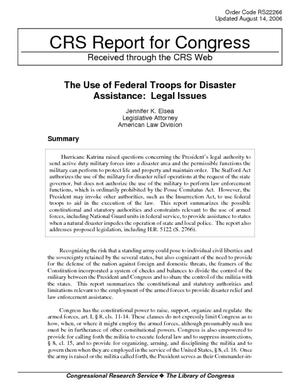 The Use of Federal Troops for Disaster Assistance: Legal Issues