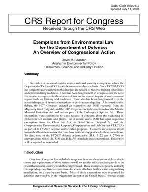 Exemptions from Environmental Law for the Department of Defense: An Overview of Congressional Action