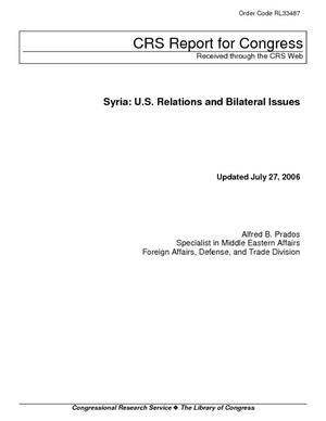 Syria: U.S. Relations and Bilateral Issues