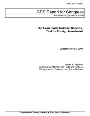 The Exon-Florio National Security Test for Foreign Investment