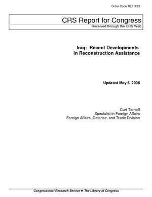 Iraq: Recent Developments in Reconstruction Assistance
