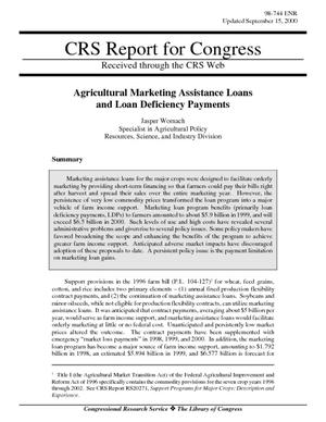 Agricultural Marketing Assistance Loans and Loan Deficiency Payments