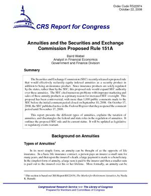 Annuities and the Securities and Exchange Commission Proposed Rule 151A