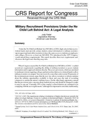 Military Recruitment Provisions Under the No Child Left Behind Act: A Legal Analysis