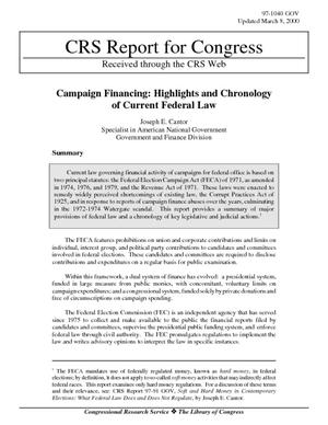 Campaign Financing: Highlights and Chronology of Current Federal Law
