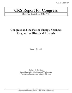 Congress and the Fusion Energy Sciences Program: A Historical Analysis
