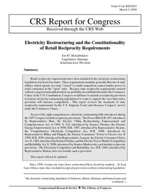 Electricity Restructuring and the Constitutionality of Retail Reciprocity Requirements
