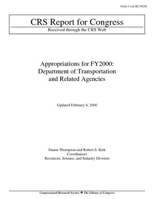 Appropriations for FY2000: Department of Transportation and Related Agencies