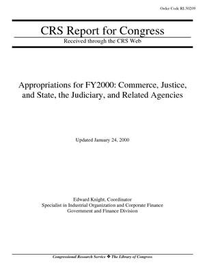 Appropriations for FY2000: Commerce, Justice, and State, the Judiciary, and Related Agencies