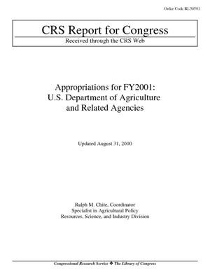 Appropriations for FY2001: U.S. Department of Agriculture and Related Agencies