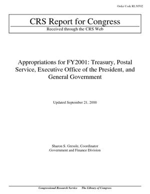 Appropriations for FY2001: Treasury, Postal Service, Executive Office of the President, and General Government