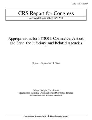 Appropriations for FY2001: Commerce, Justice, and State, the Judiciary, and Related Agencies