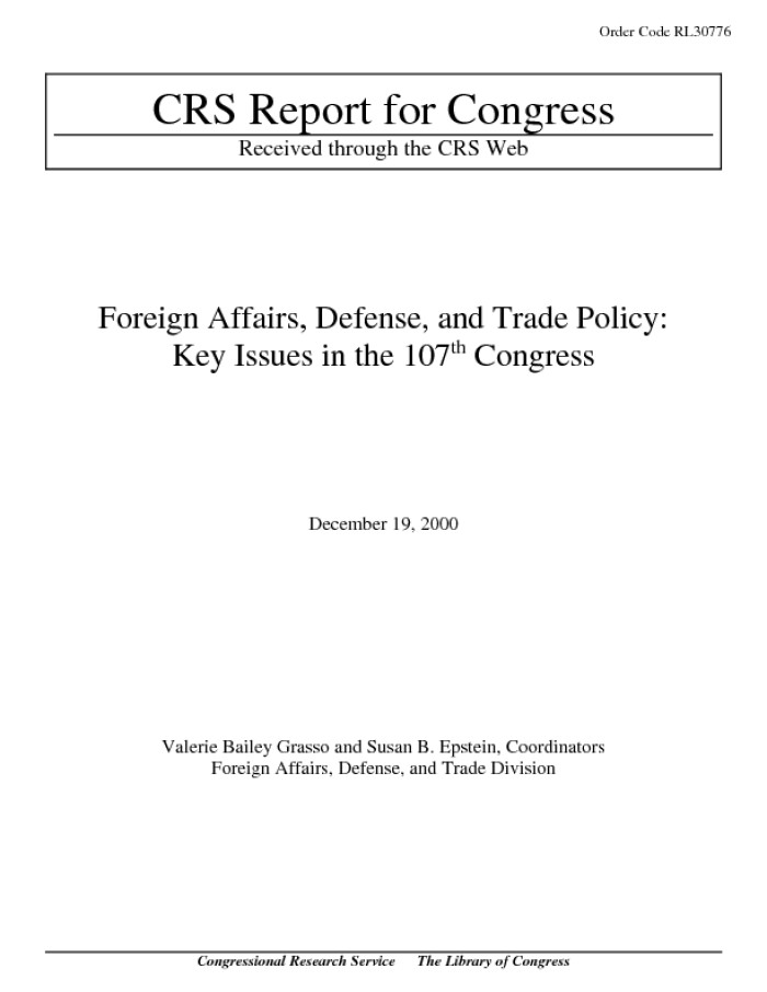 Foreign Affairs, Defense, and Trade Policy: Key Issues in the 107th