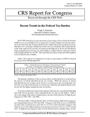 Recent Trends in the Federal Tax Burden