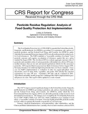 Pesticide Residue Regulation: Analysis of Food Quality Protection Act Implementation
