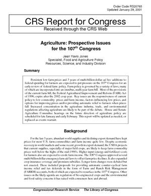 Agriculture: Prospective Issues for the 107th Congress