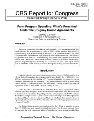 Farm Program Spending: What's Permitted Under the Uruguay Round Agreements