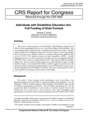 Individuals with Disabilities Education Act: Full Funding of State Formula