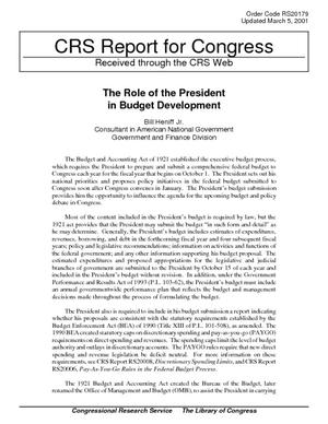 The Role of the President in Budget Development