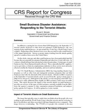 Small Business Disaster Assistance: Responding to the Terrorist Attacks
