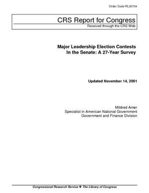 Major Leadership Election Contests in the Senate: A 27-Year Survey