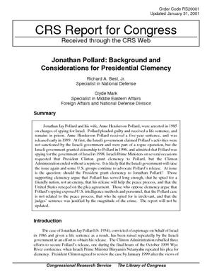 Jonathan Pollard: Background and Considerations for Presidential Clemency