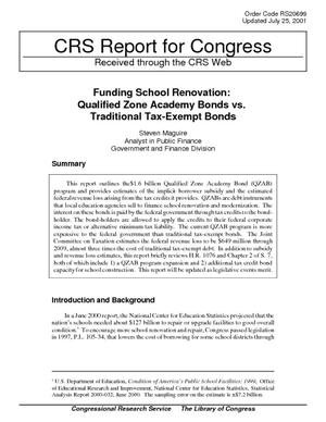 Funding School Renovation: Qualified Zone Academy Bonds vs. Traditional Tax-Exempt Bonds