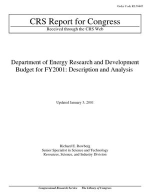 Department of Energy Research and Development Budget for FY2001: Description and Analysis