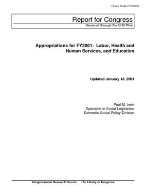Appropriations for FY2001: Labor, Health and Human Services, and Education