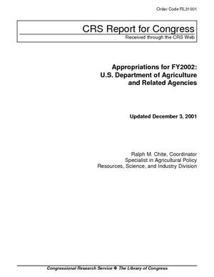 Appropriations for FY2002: U.S. Department of Agriculture and Related Agencies