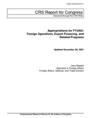 Appropriations for FY2002: Foreign Operations, Export Financing, and Related Programs