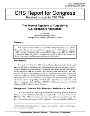 The Federal Republic of Yugoslavia: U.S. Economic Assistance