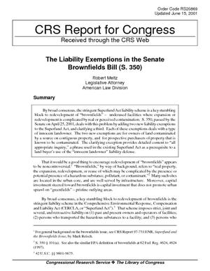 The Liability Exemptions in the Senate Brownfields Bill (S. 350)