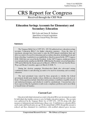 Education Savings Accounts for Elementary and Secondary Education