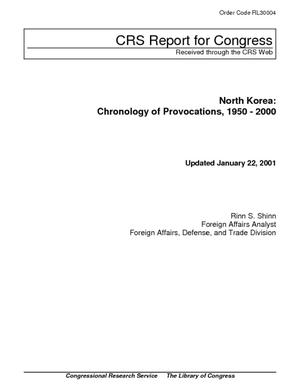 North Korea: Chronology of Provocations, 1950-2000