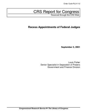 Recess Appointments of Federal Judges