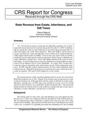 State Revenue from Estate, Inheritance, and Gift Taxes