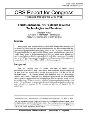 "Third Generation (""3G"") Mobile Wireless Technologies and Services"