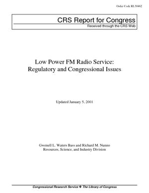Low Power FM Radio Service: Regulatory and Congressional Issues