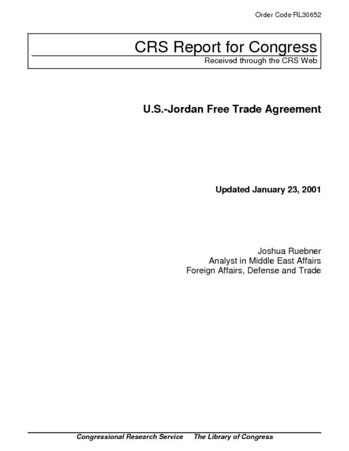 Us Jordan Free Trade Agreement Digital Library