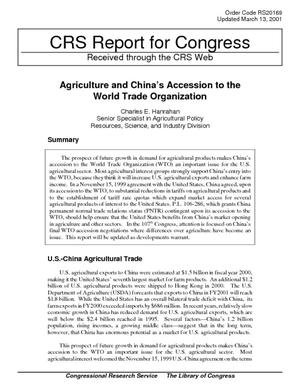 Agriculture and China's Accession to the World Trade Organization
