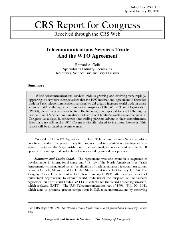 Telecommunications Services Trade And The Wto Agreement Digital