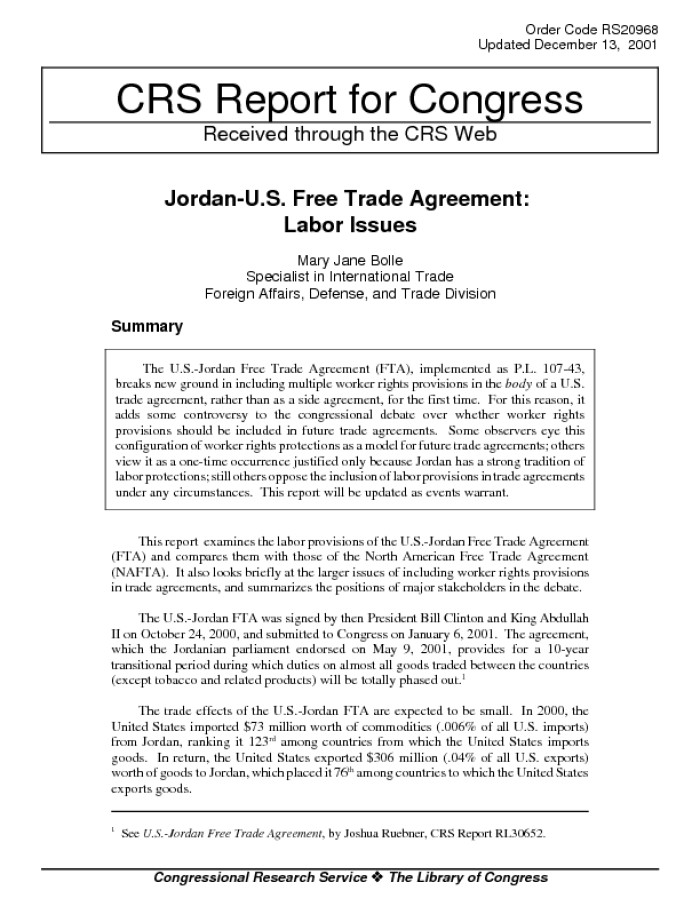 Jordan Us Free Trade Agreement Labor Issues Digital Library