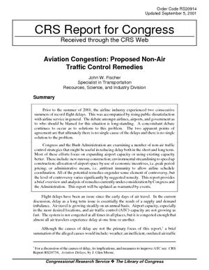 Aviation Congestion: Proposed Non-Air Traffic Control Remedies